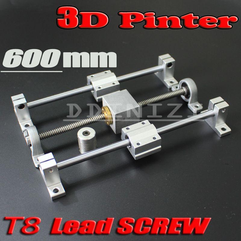 HOT sale 3D Printer guide rail sets T8 Lead screw length 600mm + linear shaft 8*600mm + KP08 SK8 SC8UU+ nut housing +coupling
