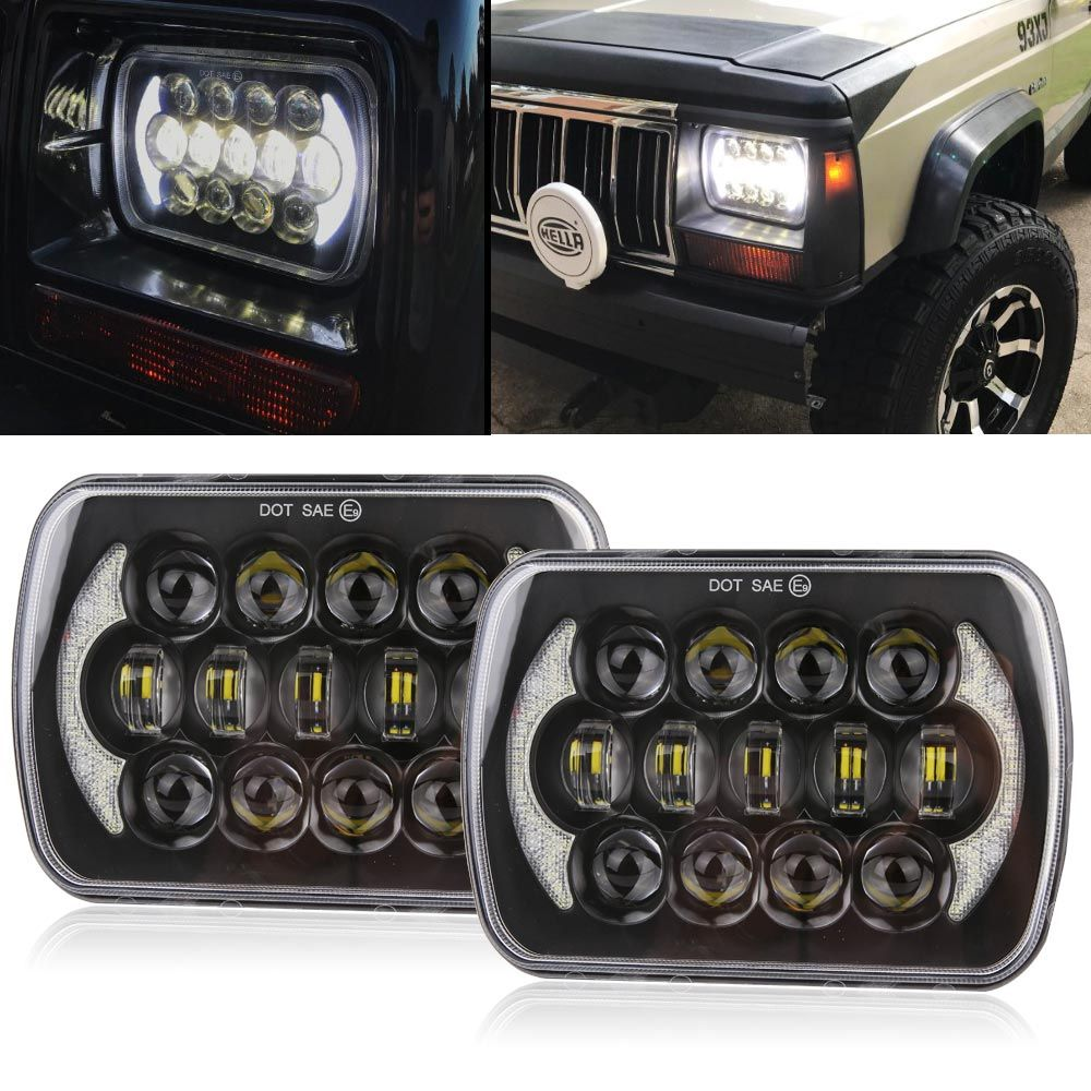 105W 5X7 7X6 inch Rectangular Sealed Beam LED Headlight With DRL for Jeep Wrangler YJ Cherokee XJ H6014 H6052 H6054 LED 1 Pair