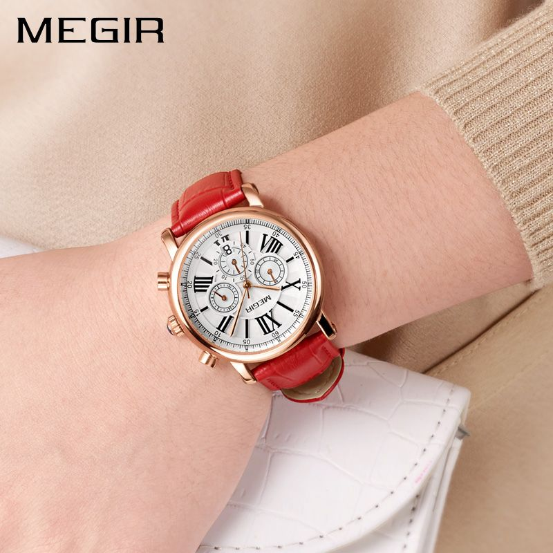 MEGIR Womens Watches Top Brand Luxury Women Sports Watch Clock Ladies Leather Strap Chronographs Military Relogio Masculino