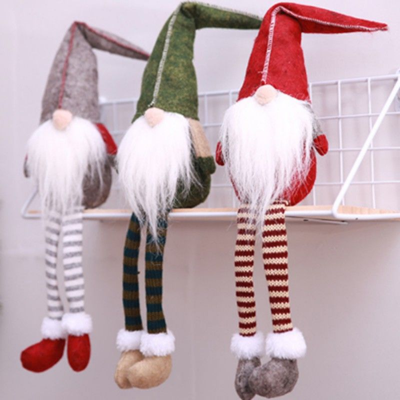 Christmas Decoration Cute Sitting Long-legged Elf Festival New Year Dinner Party Christmas Decorations for Home Party Decor