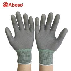 Abeso 1pair Antistatic Gloves Anti Static ESD Electronic Working Gloves pu palm coated finger PC Antiskid for Finger A3004
