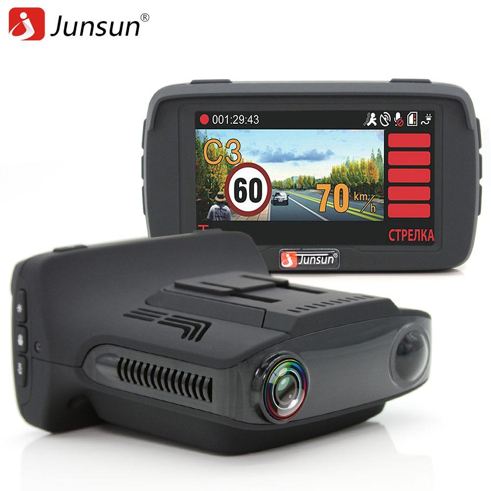 Junsun L2 Ambarella A7 Voiture DVR Camear Détecteur de Radar Gps 3 dans 1 LDWS HD 1080 P Enregistreur Vidéo Registraire Dashcam Russe Langue