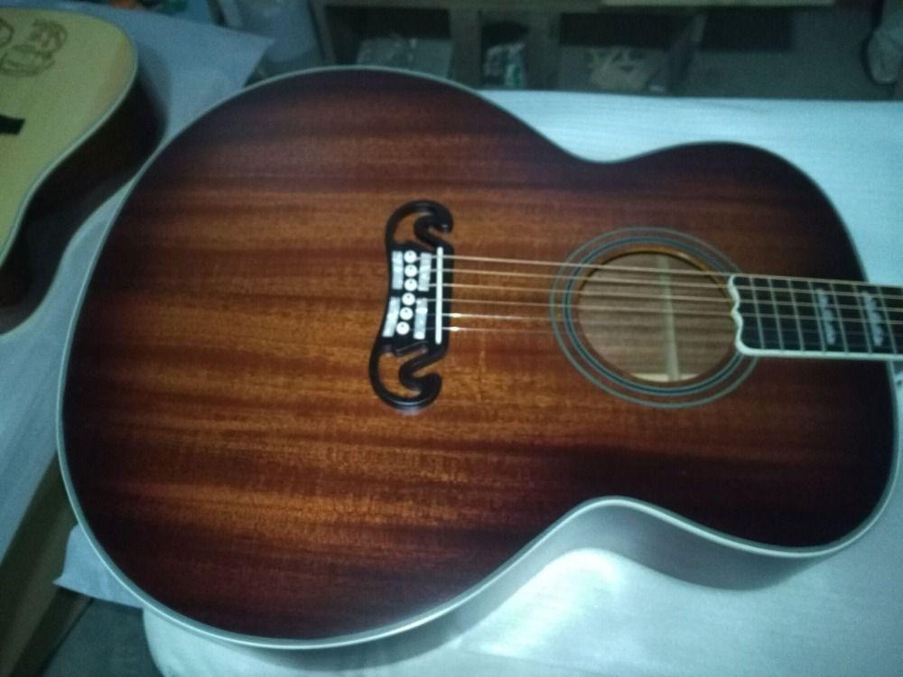 Freies verschiffen beste qualität jumbo größe satin finishing akustische gitarre hand made mahagoni holz farbe akustische gitarren