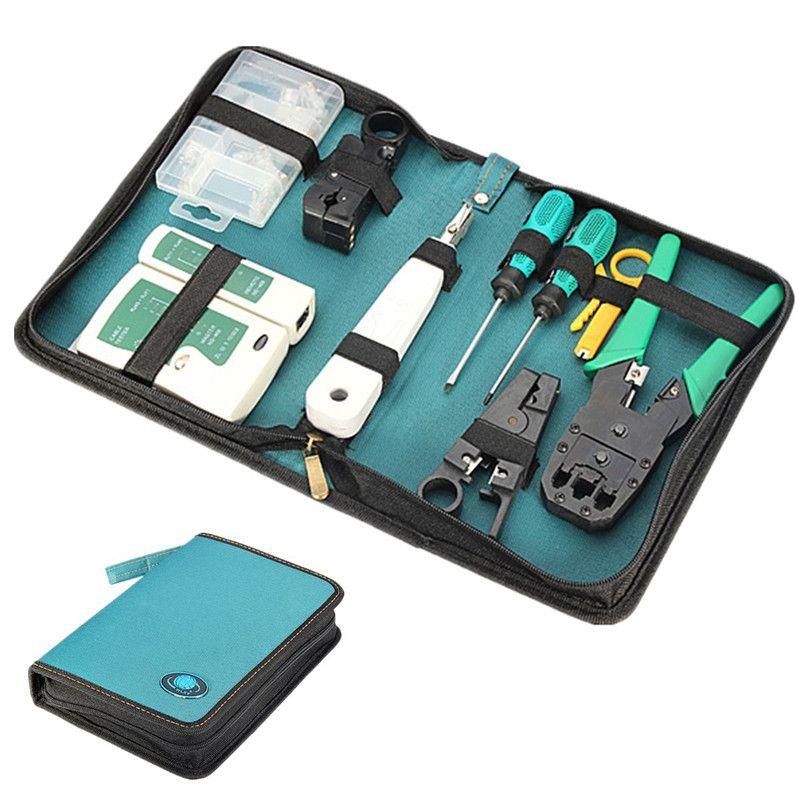 Network Crimping Tool Set/Kit Bag Cable Tester Connector Crimper Plug Plier Wire Cutter Screwdriver for RJ45 RJ11 RJ12 CAT5