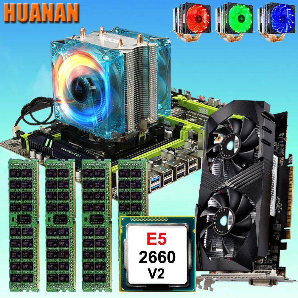 HUANAN ZHI X79 motherboard mit M.2 slot CPU Xeon E5 2660 V2 SR1AB mit kühler RAM 32g (4 * 8g) 1600 RECC GTX1050Ti 4g video karte