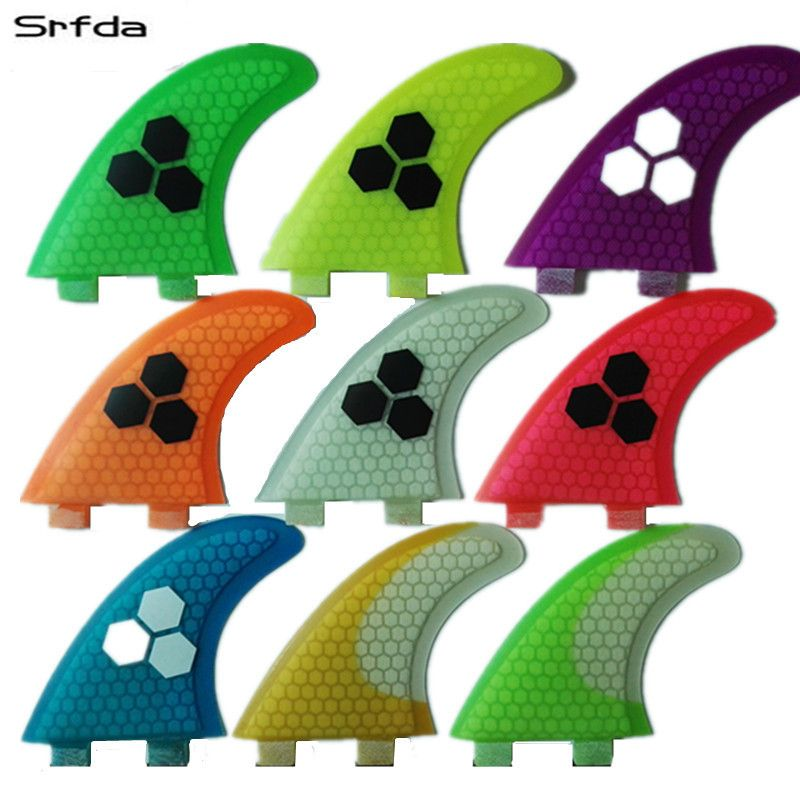 srfda fiberglass and honeycomb blue green orange wihte surfboard fin thruster FCS fin surf fins size M fins  Top quality