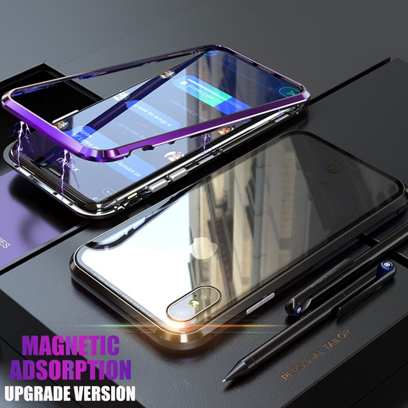 Magneto <font><b>Upgrade</b></font> Magnetic Adsorption case for iphone X iphone 7 8 plus case Dual color luxury metal+9H tempered glass cover coque
