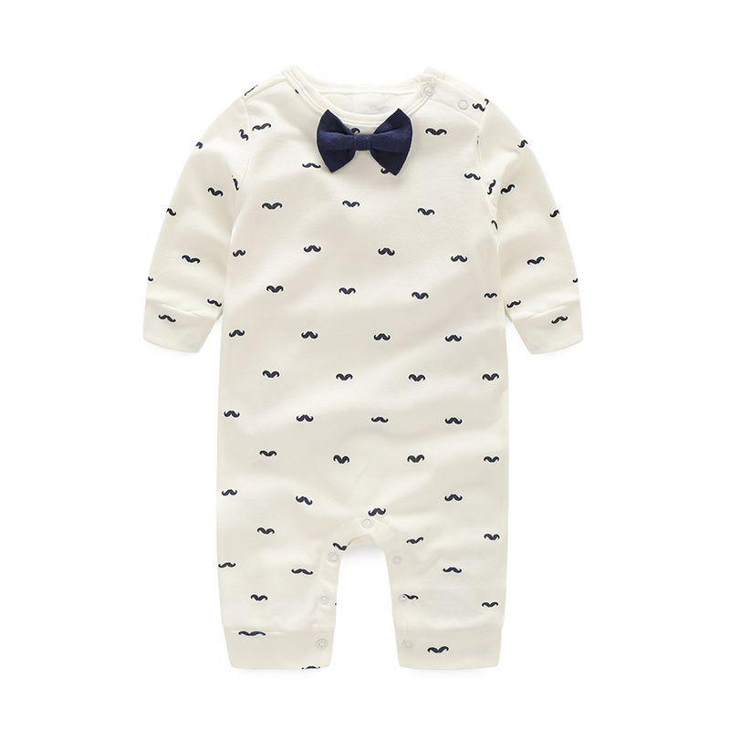 Baby Rompers Spring Autumn <font><b>Active</b></font> Full Sleeve Baby Boy Girl Clothes Print Beard Cotton Children Clothing Newborn Birthday Dress