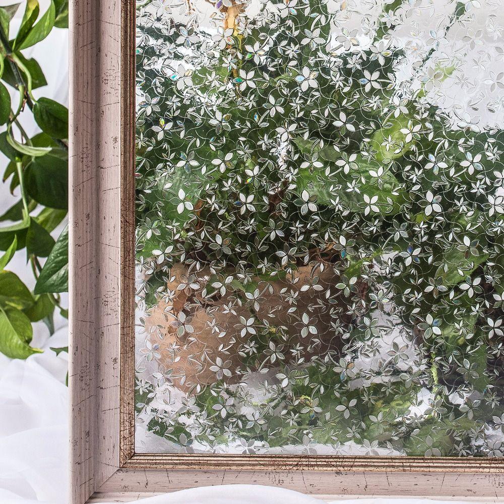 CottonColors PVC étanche Films de couverture de fenêtre, sans colle 3D statique fleur décorative intimité chambre verre autocollant, 45x200 cm