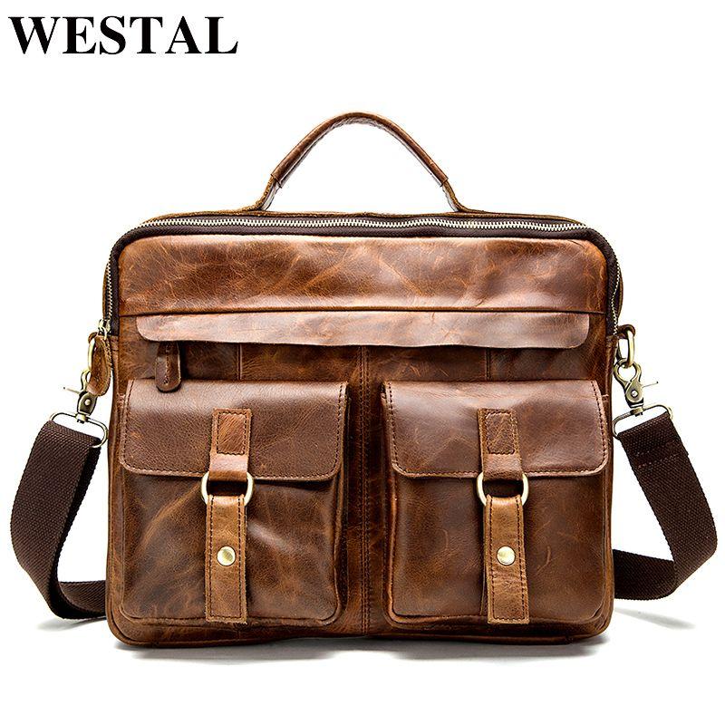 WESTAL Messenger Bag men's genuine leather men shoulder bag Casual Male briefcases laptop Crossbody bags for men handbags 8001