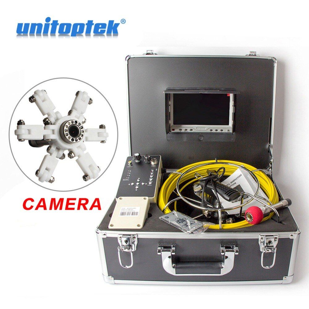 Color 1000TVL 30m Cable 7'' TFT LCD Drain Inspection Camera With DVR Borescope Pipe Sewer Camera Portable Aluminum Case