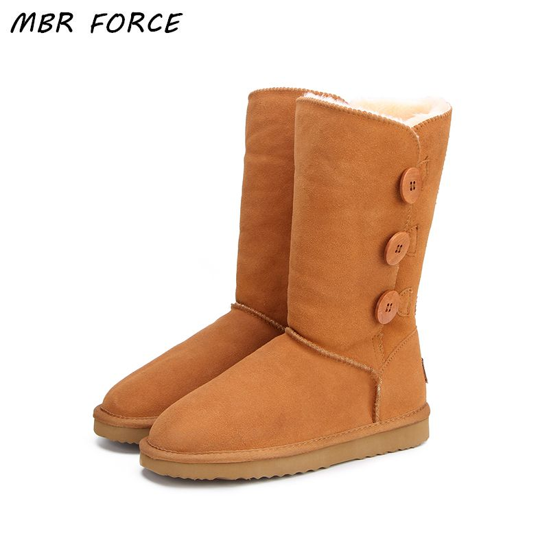 MBR FORCE Classic Women Snow Boots <font><b>Short</b></font> Leather Winter Shoes Boot with Black Chestnut Gray Women's Fur Snow Boots US 3-13