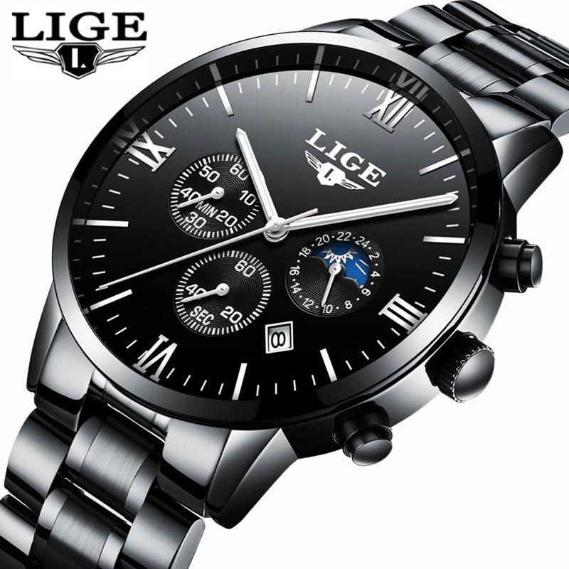 Herrenuhren Top-marke Luxus-uhr männer Mondphase voller stahl Business Mode Quarz sport Uhren männer Relogio masculino Saat