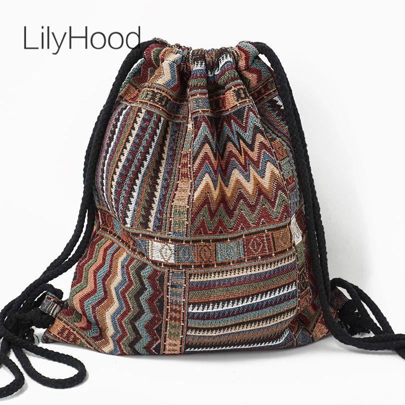 LilyHood femmes tissu sac à dos femme bohème bohème bohème Chic aztèque Ibiza Tribal ethnique Ibiza marron cordon sac à dos sacs