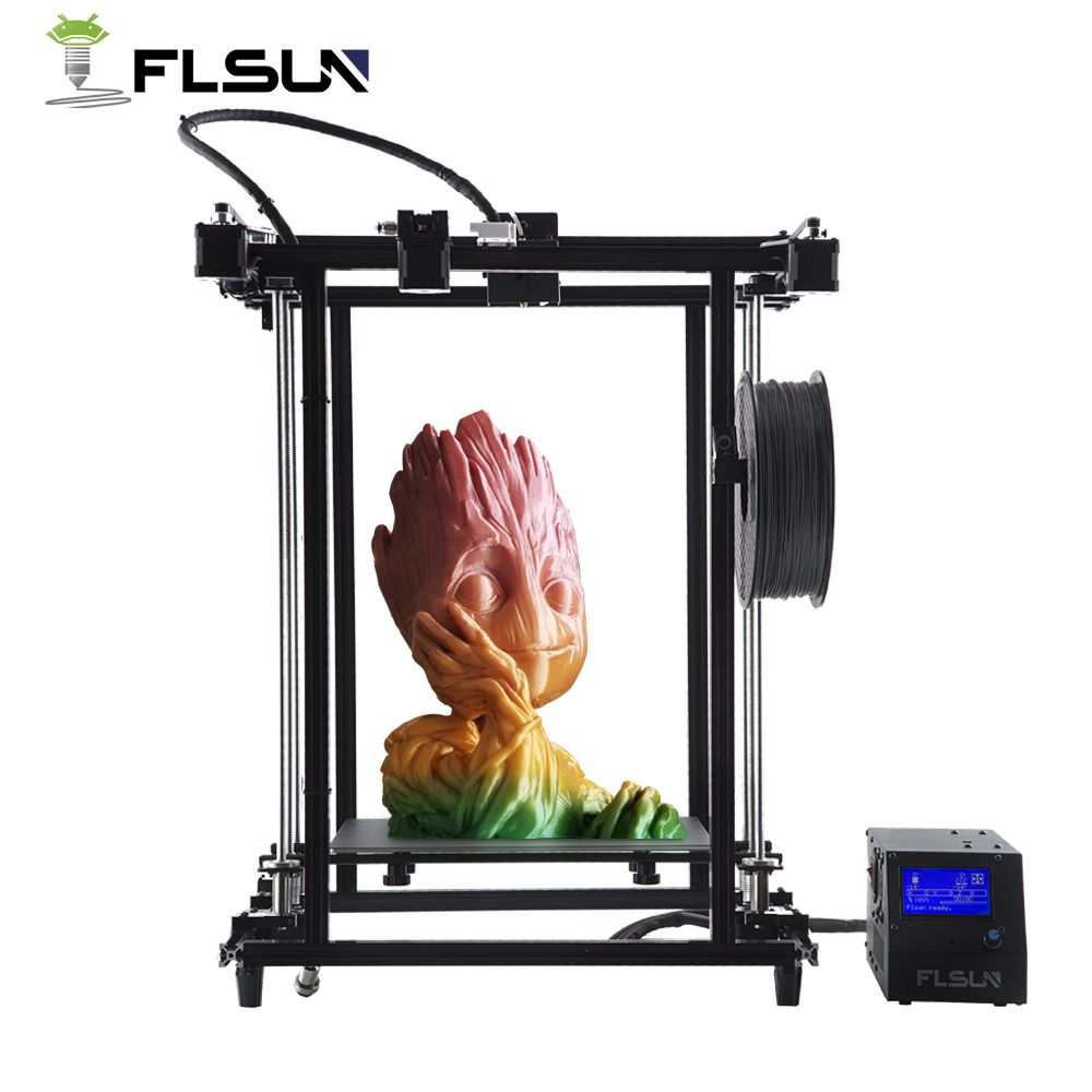 Flsun 2018 3D Printer Pre-assembly Plus Size 320*320*460mm Metal Frame Corexy Structure High Precision 3D Printer Dual Z Lead