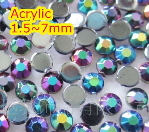 Gelée noir AB couleur 1.5 ~ 7mm dos plat perles acryliques rondes/pierres, résine acrylique 3D Nail Art/vêtement