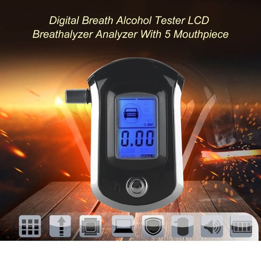 Digital Breath Alcohol Tester LCD Breathalyzer Analyzer With 5 Mouthpiece High Sensitivity Professional Quick Response