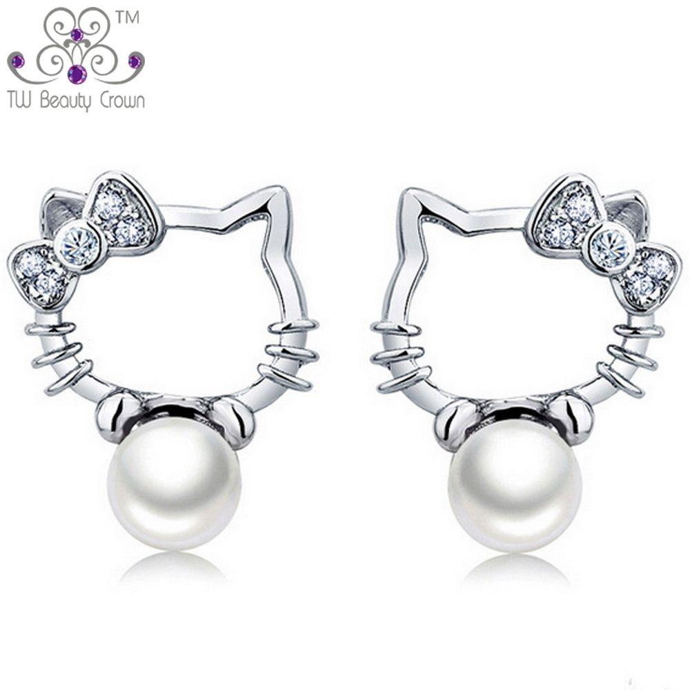 Aretes de hello kitty tipo botón de plata esterlina real 925 con lindas perlas de agua fresca, pendientes para mujer joven y señorita, joyería para niñas