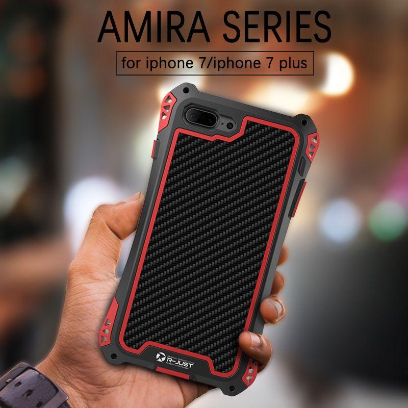 R-just En Fiber De Carbone De Marque pour iphone 7 Étui Étanche coque aluminium anti choc Housse pour iphone 7 plus Avec Film de Verre