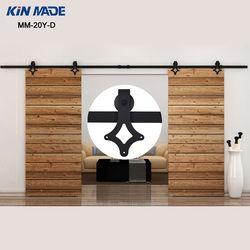 KIN FAIT MM-20Y-D 12FT Pays Style bi-séparation double coulissante grange porte coulissante en bois grange quincaillerie de porte kit complet