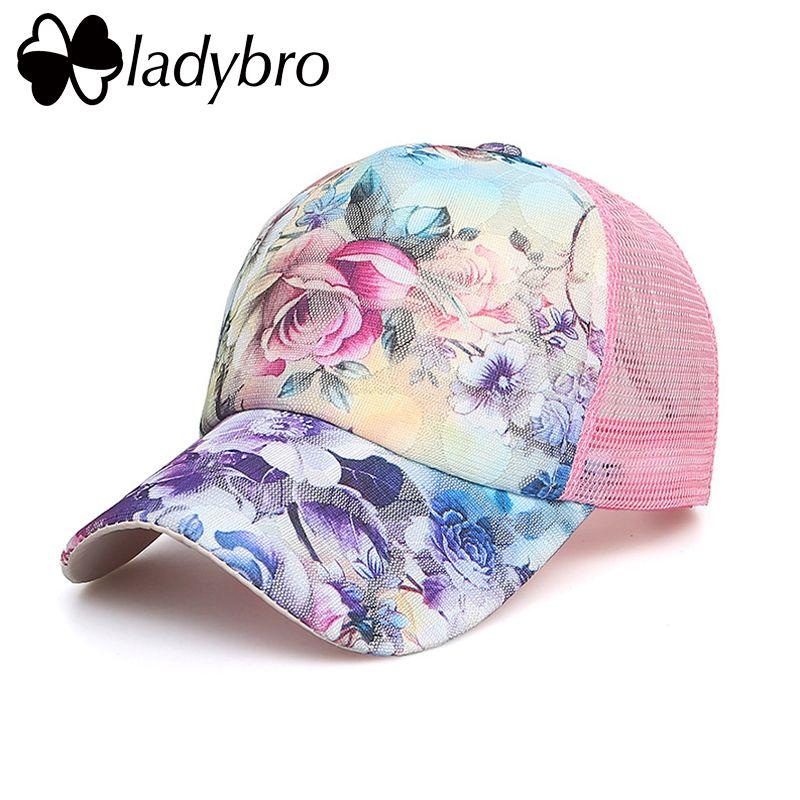 Ladybro marque femmes chapeau casquette décontracté dentelle Net casquette camionneur chapeau Snapback femme maille chapeau été fleur noir Cap Bone