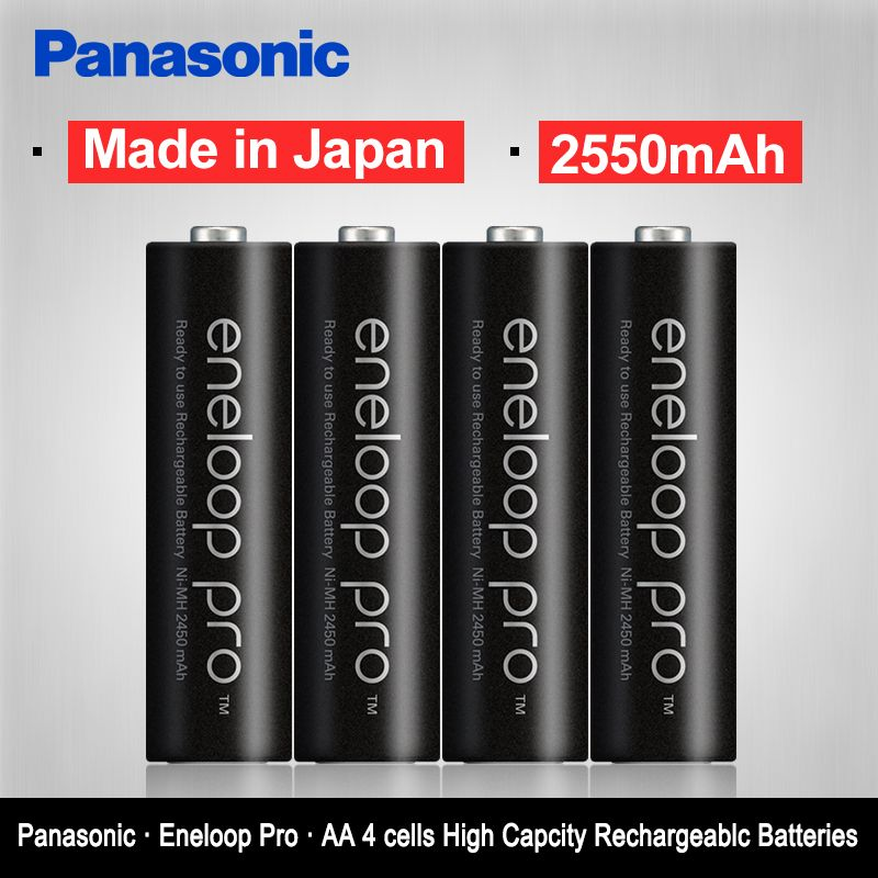 Original Panasonic Top Quality 2550mAh AA Pre-Charged Rechargeable Batteries <font><b>4PCS</b></font>/LOT 1.2V NI-MH AA Camera Battery Eneloop