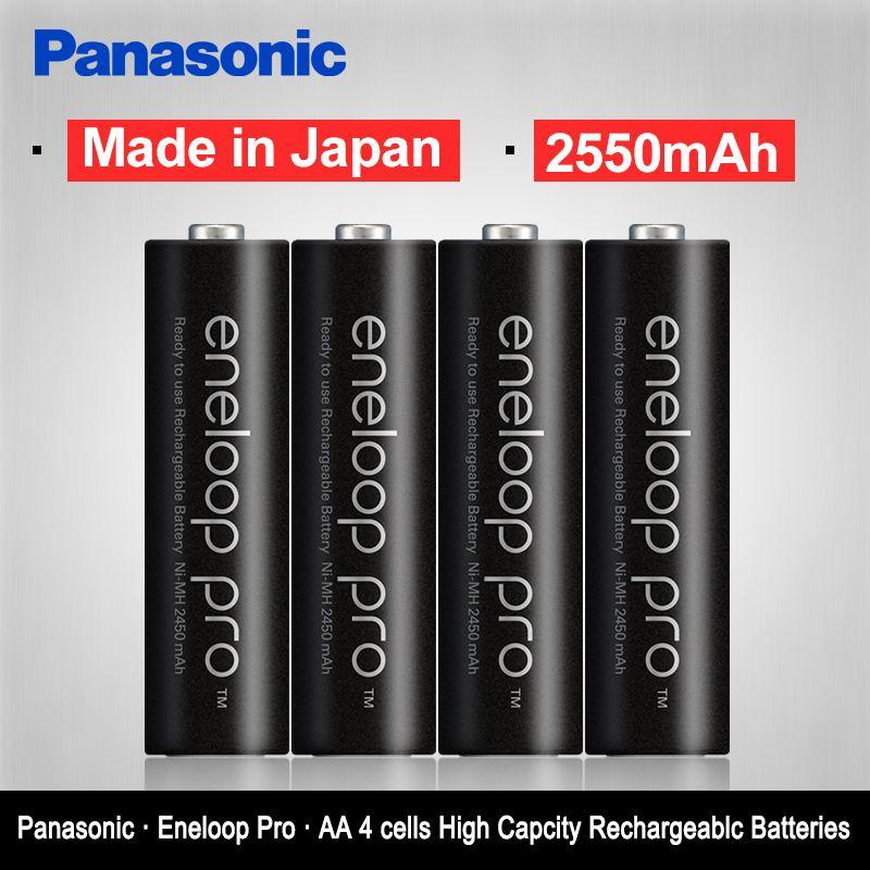 Panasonic Eneloop Original 2550mAh Batteries 4PCS/LOT <font><b>1.2V</b></font> NI-MH Camera Flashlight XBOX Toy AA Pre-Charged Rechargeable Battery