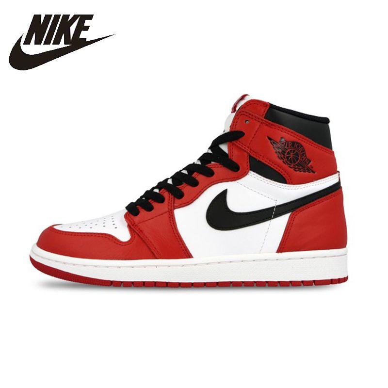 Nike Air Jordan 1 Retro High-top OG Authentische Rot Weiß Atmungsaktive Herren Basketball Schuhe Turnschuhe Für Männer Schuhe #555088-101