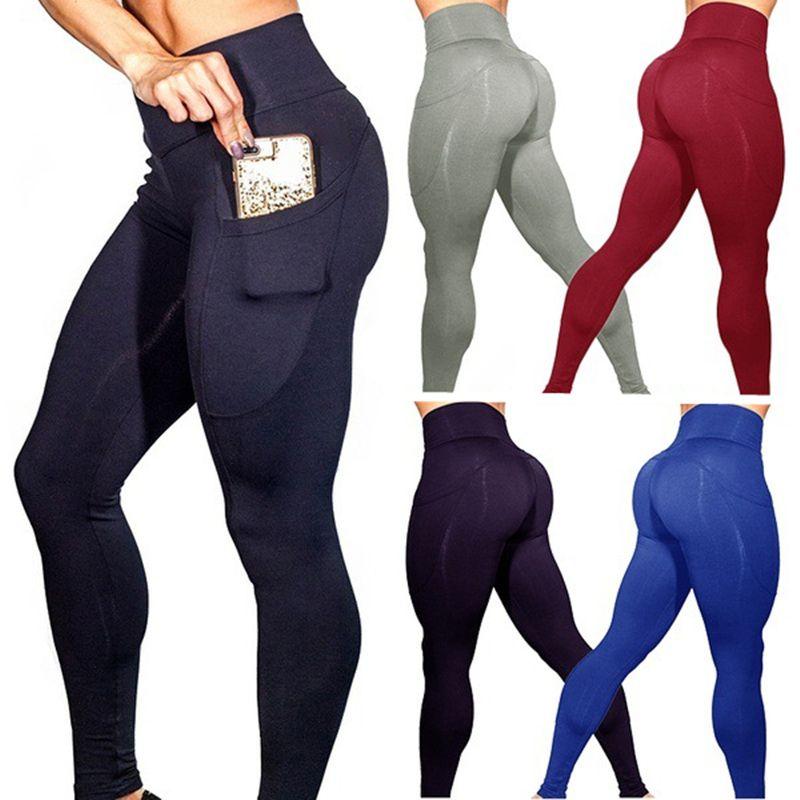 Yoga Pantalon Avec Poches S-XL Femmes Sport Leggings Entraînement de Jogging Courir Leggings Stretch Haute Élastique Gym Collants Femmes Legging