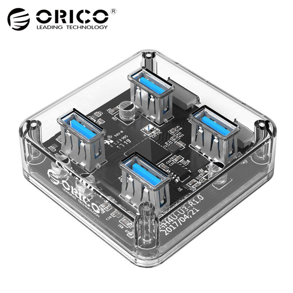 ORICO Transparent 4 Ports USB 3.0 HUB for Desktop / Laptop with 30 / 100 CM Data Cable Support External Micro USB <font><b>Power</b></font> Supply