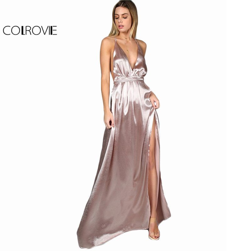 COLROVIE Maxi Party Dress Women Pink Plunge Neck Sexy <font><b>Cross</b></font> Back Wrap High Slit Summer Dresses Elegant Club Long Cami Dress