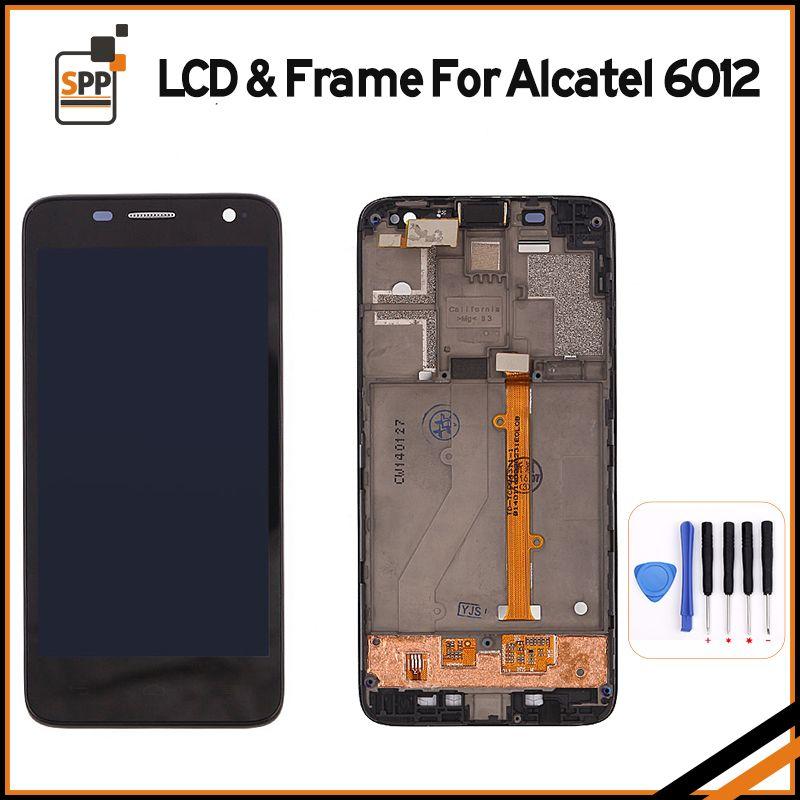 Écran LCD d'origine pour Alcatel OT6012 6012 6012A 6012X LCD Affichage Tactile Digitizer Remplacement de L'assemblée Complet Cadre Pantalla