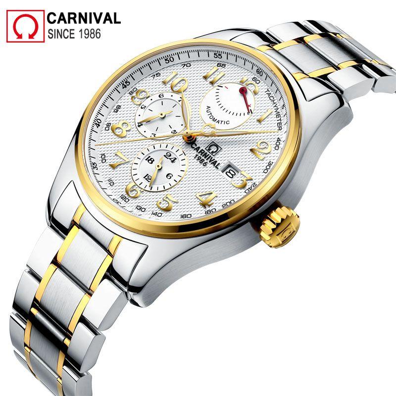 Carnival Import Movement Automatic Watch Men Waterproof 150M 316L Stainless Steel Mens Watches Luxury Xfcs Man Clock kol saati