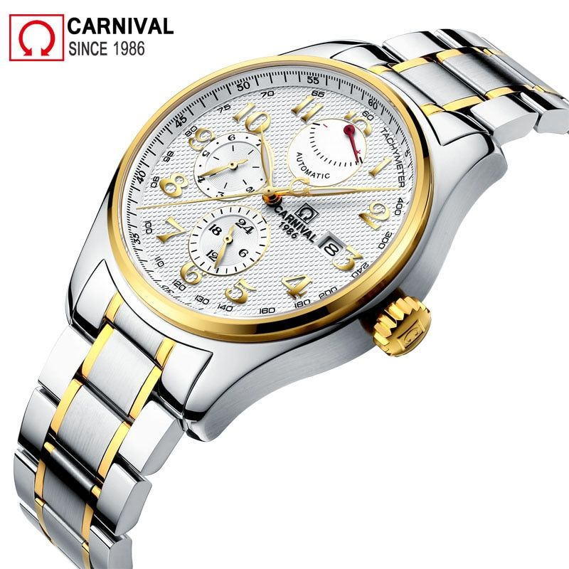 Karneval Import Bewegung Automatische Uhr Männer Wasserdicht 150 Mt 316L Edelstahl Herrenuhren Luxus Xfcs Mann Uhr kol saati