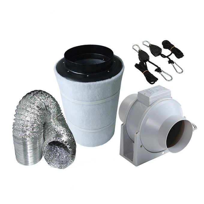 4 Inch Mix Flow Plastic Inline Exhausting Fan & Carbon Air Filter Ducting for Grow Tent Kits Plant Growing Green House Duct Fan