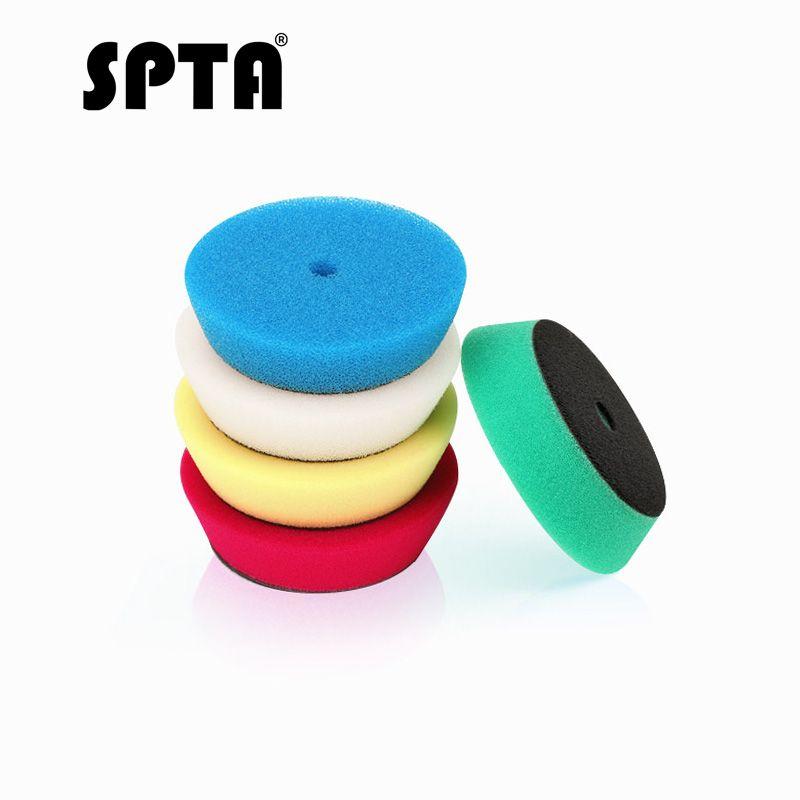 SPTA 5 pièces 4 tampon de polissage 100mm Kit de couleurs de mélange pour plaque de support 3 pouces RO/DA/Air polisseur Polyester éponge tampons de polissage