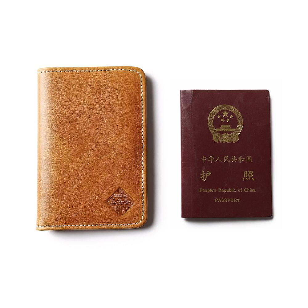 Vegatable Tanned Leather Passport Holder for Men Premium Quality Full Grain Passport Wallet Men's Visa Case Genuine Leather
