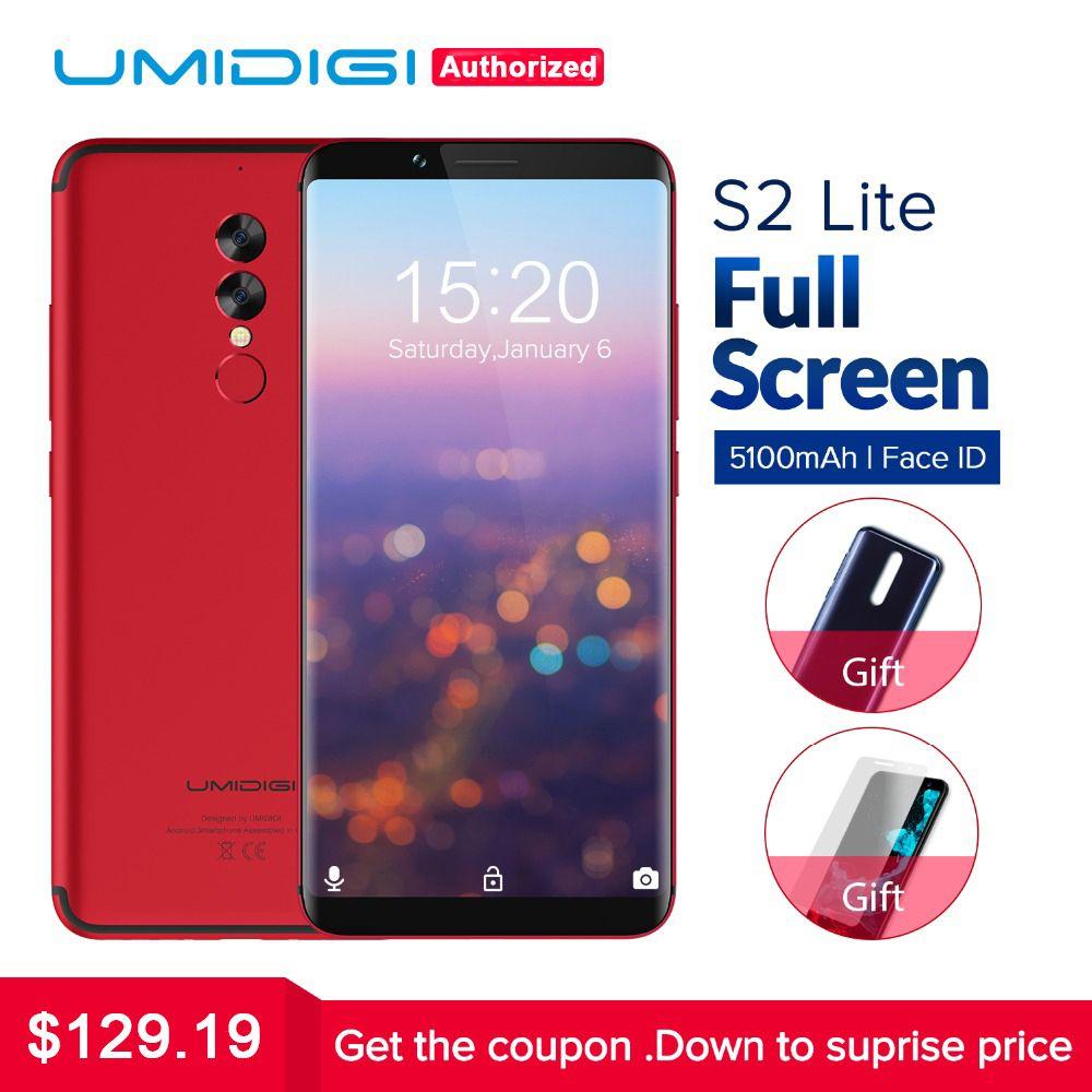 UMIDIGI S2 Lite 18:9 Plein Écran Smartphone 5100 mAh 4 GB + 32 GB 16MP + 5MP Double Caméra Visage ID Android 7.0 4G LTE Mobile Téléphone
