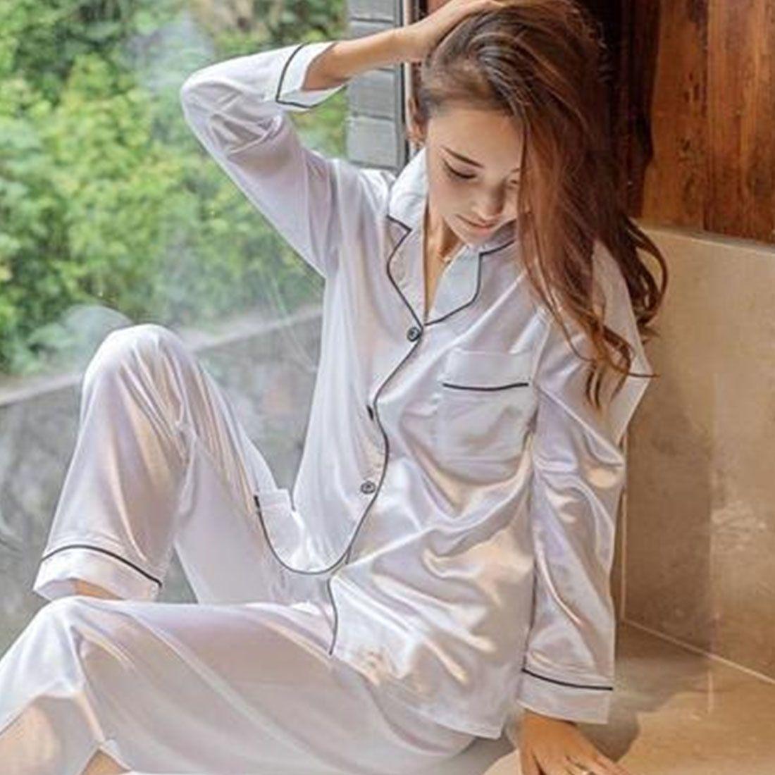 Soft Faux Silk Satin Upscale <font><b>Couples</b></font> Pajamas Sets Men Women Long Sleeve Sleepwear Home Wear Nightshirt