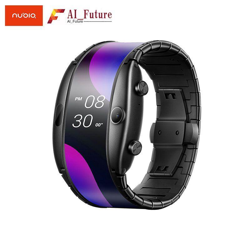 NEUE Nubia ALPHA Uhr telefon 4,01 faltbare flexible display Sport Real-zeit nachricht erinnerung Bluetooth aufruf Mitte- air gesten