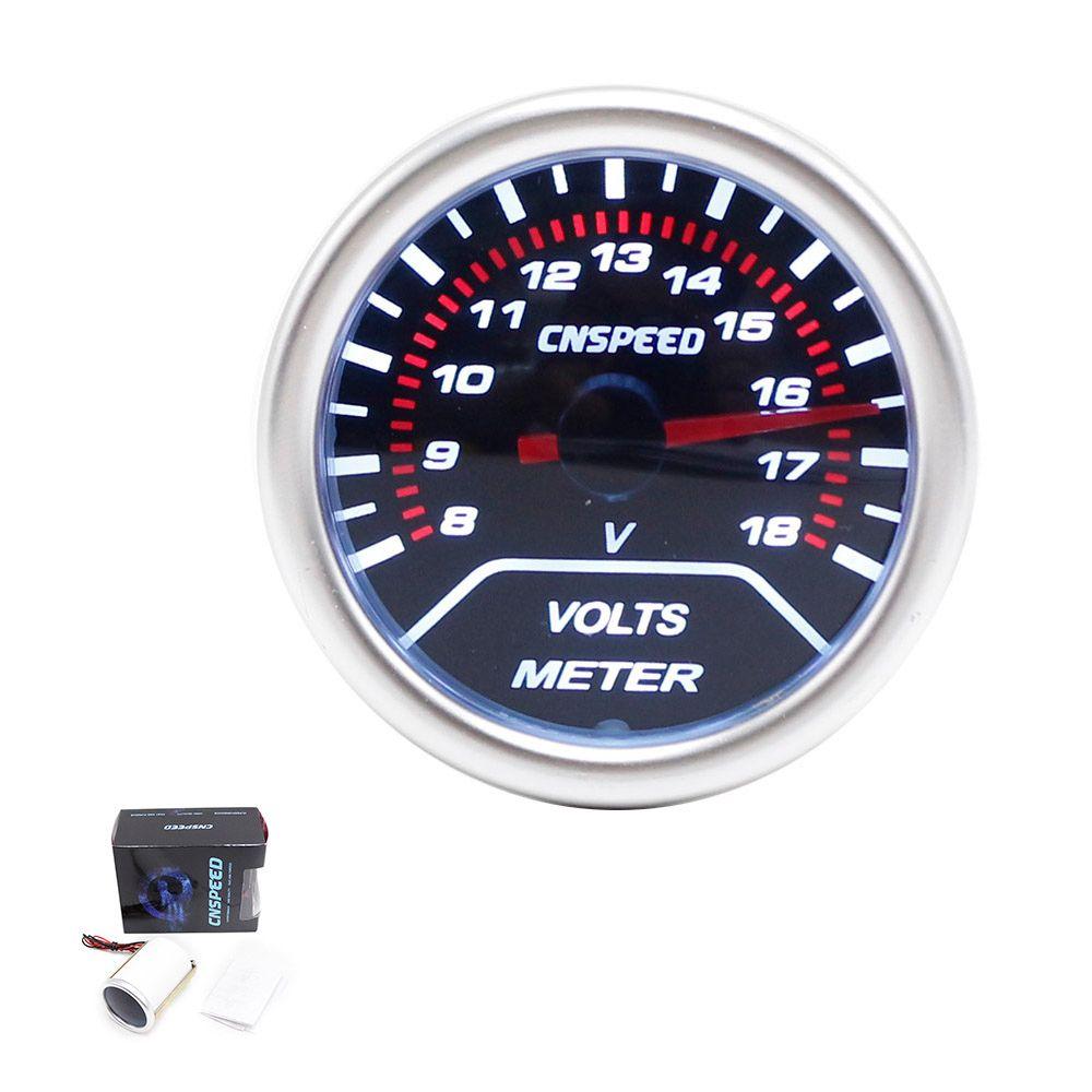 CNSPEED Free shipping 2 inch 52mm Smoke Lens Car Voltmeter 8~18V Red Led  Racing Volt Gauge/Car Meter TT101232