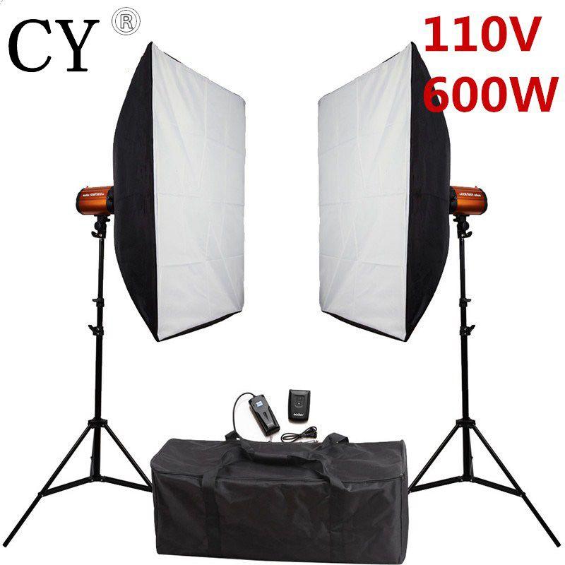 Godox Smart 300SDI Fotografie Softbox Flash Beleuchtung Kits Fotostudio 600 Watt Röhrenblitz-blitz Leuchtkasten Ständer Set Für Fotostudio