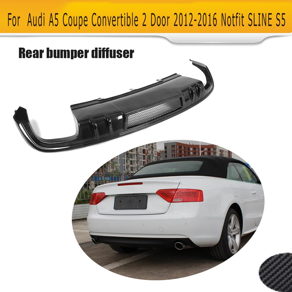 Carbon Fiber Rear Bumper Extension Diffuser Spoiler for Audi A5 2012 -2016 Coupe 4 Door Sportback Convertible Non S Line S5