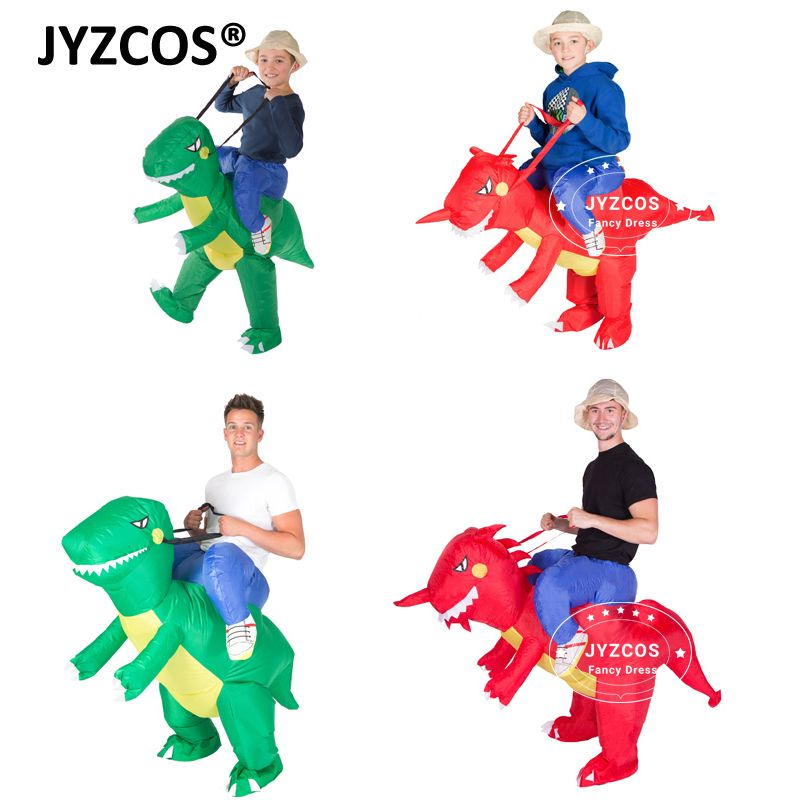 JYZCOS Inflatable Dinosaur Costume Kids Adult Blow Up T-Rex Unicorn Cowboy Sumo Wrestler Outfit Cosplay Purim Halloween Carnival