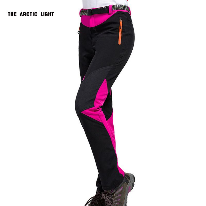 New Outdoor Traverse Hiking Camping Skiing Pants Softshell Pants <font><b>Waterproof</b></font> Windproof Thermal For Women