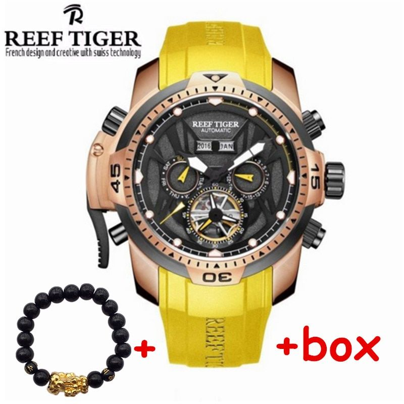 2017 Brand Reef Tiger Automatic Mechanical Men Watches 50 m Waterproof Bright Tourbillon rubber Calendar Watch relogio masculino