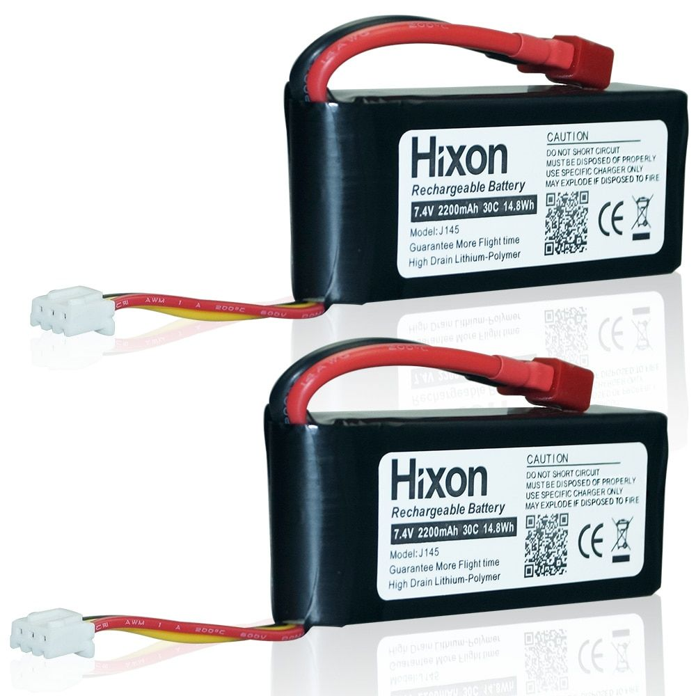 2 pcs Hixon 2200mAh 7.4V 25C Lipo Rechargeable Battery Fits Well For SYMA X8C RC Drone