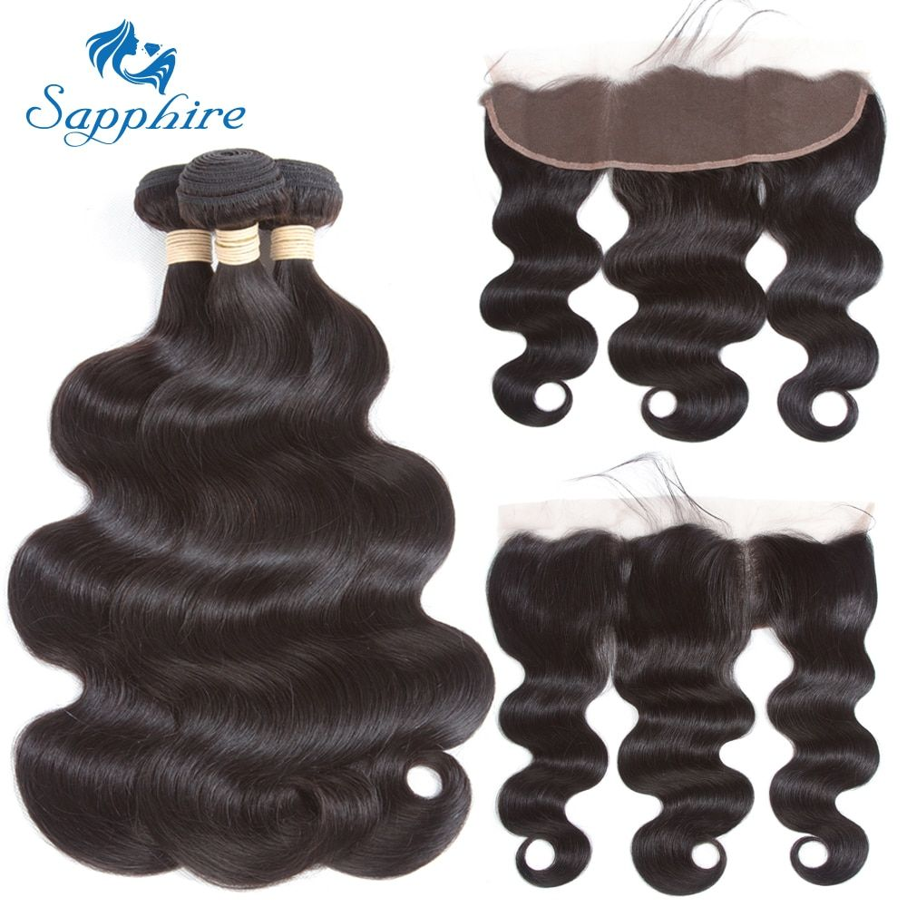 Sapphire Brazilian Body Wave Human Hair Bundles With Lace Frontal Closure Natural Color Human Hair 3 Bundles With Closure Remy
