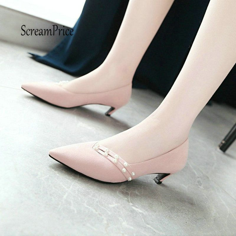 Flock Low Heels Fashion Pointed Toe Lazy Shoes Spring Fall Pumps Shoes Women Casual Pink Green Yellow Black