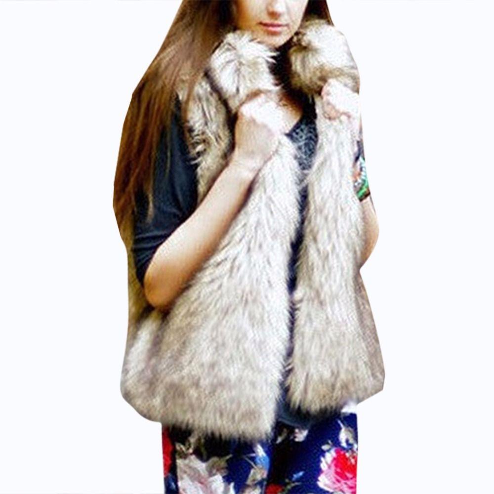 Fashion Women Faux Fur Vest Winter Warm Stand Collar Luxury Fluffy Fur Jacket Coat Plus Size Slim Outerwear Casaco Pele